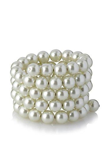Kenneth Jay Lane Women's 4 Row Cultura Pearl 10mm Coil Bracelet Pearl One Size
