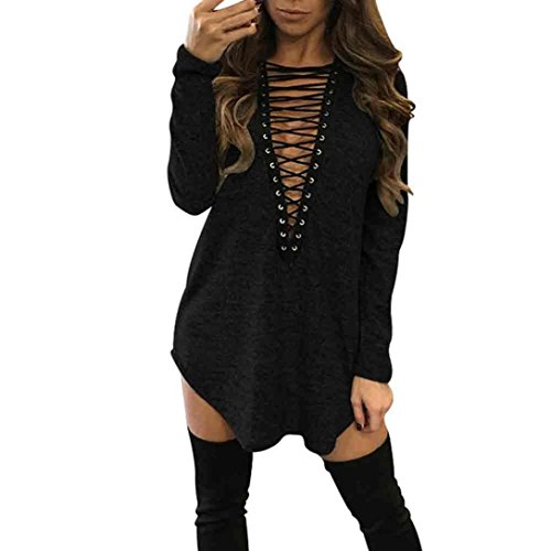 Paymenow Sexy Women Bandage Blouse Long Sleeve Club Party Loose Casual Ladies Dresses (M, Black)
