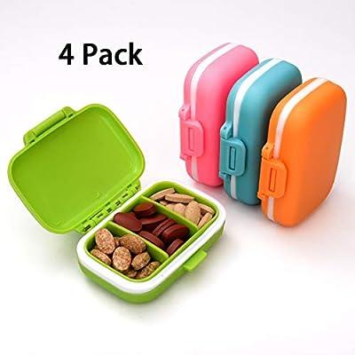 LAOYE - Pastillero pequeño con 3 Compartimentos extraíbles, 4 ...