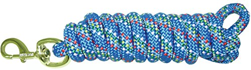 "Hamilton Extra Heavy Poly Rope Lead with Bull Snap, Bluf Confetti Weave, 5/8"" Thick x 10' Long"