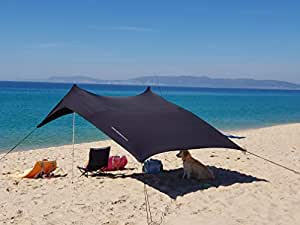 Neso Tents Beach Tent with Sand Anchor, Portable Canopy Sunshade - 2.1 x 2.1m - Patented Reinforced Corners (Black)