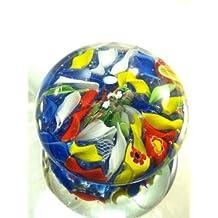 Murano Design Blown Glass Rainbow Millefiori Paperweight PP-0163