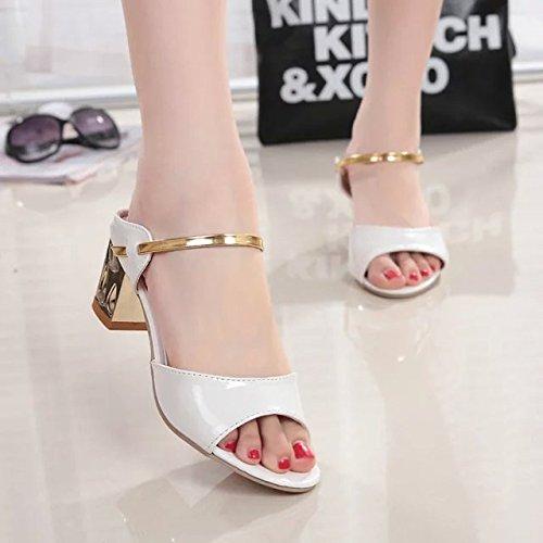 Le lgantes Sandales Style Poisson Unie Bouche Fixe Blanc Et Pied De Antidrapant 36 Couleur Z8TZrxq