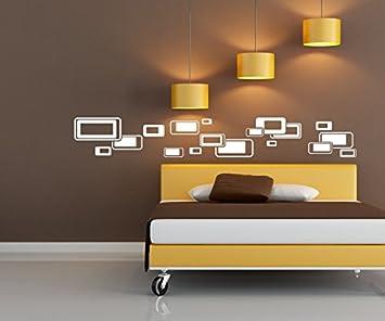 Wandtattoo Selbstklebend Bordüre Retro Style Rechtecke Quadrat Streifen Set  Kreise Banner Aufkleber Wohnzimmer 1U150, Farbe
