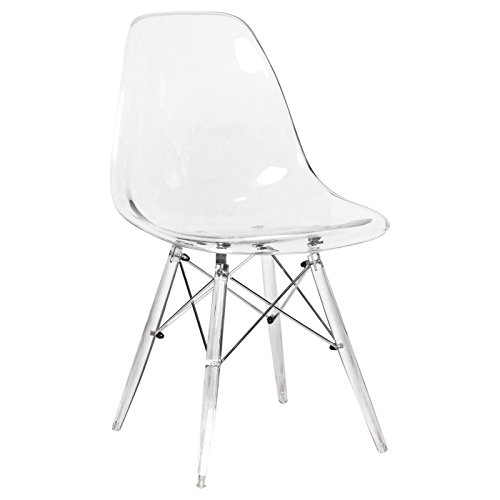 LeisureMod Calbert Molded Plastic Dining Chair with Acrylic Eiffel Base (Clear) by LeisureMod