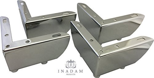 SET OF 4 x SIMPLE CHROME FURNITURE METAL LEGS FEET FOR SOFAS, CHAIRS, STOOLS, CABINETS, UNITS APPROX 55mm HEIGHT by Inadam Products