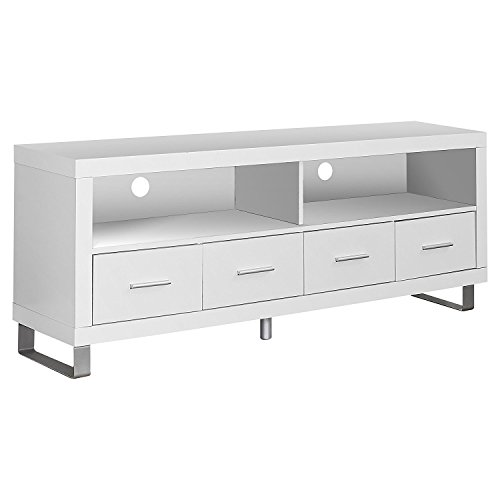 Monarch Specialties I 2518, TV Console with 4 Drawers, White, ()