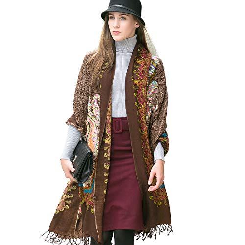 DANA XU 100% Pure Wool Women Winter Large Size Pashmina Travel Shawl (Coffee)