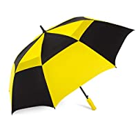 ShedRain Windjammer Vented Auto Open Golf Umbrella with EVA Grip: Black/Yellow