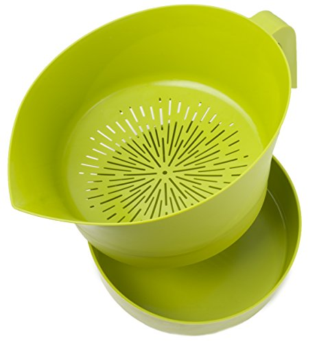 Green Easy Greasy Plastic Strainer with Handle - 3 Pc Colander Set - Ground Beef Grease Strainer (Green) ()