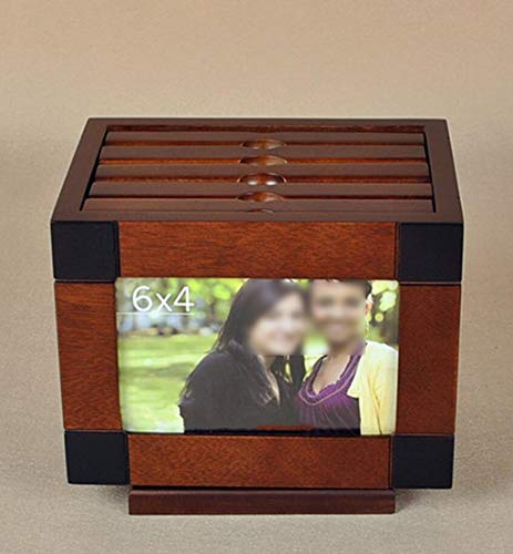 ZHM Wooden Photo Album Box 6 inch Photo Album Photo Solid Wood Creative Photo Wedding Insert Photo Box Photo Thin Album DIY Storage Box Creative Gift,rotatingalbumbox ()