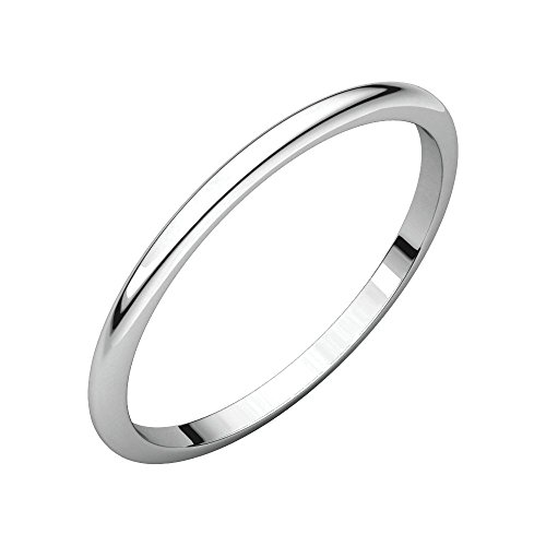 14k White Gold 1.5mm Half Round Band, 14kt White gold, Ring Size 5 by Security Jewelers