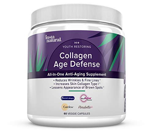 - Collagen Age Defense Daily Supplement - Natural - Reduces fine Lines, Wrinkles & Discoloration - with BioCell Collagen & Hyaluronic Acid - InstaNatural - 60 Veggie Capsules