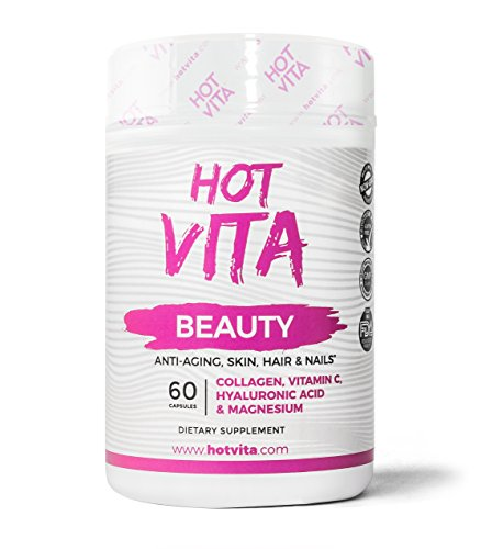 Hot Vita Beauty – Collagen Hyaluronic Acid Vitamin Capsules – Hair Skin and Nails Diet Sugar Free Supplement (Reveal 60 Tablets)