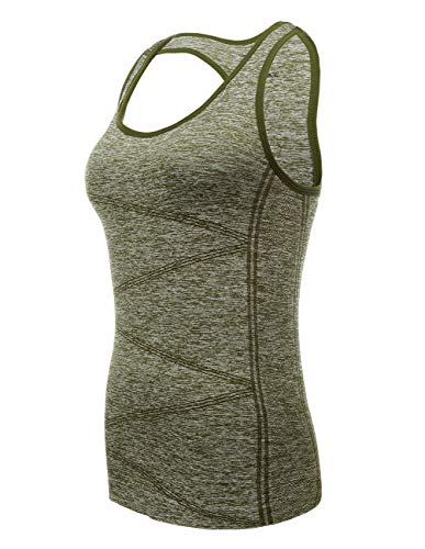 Tank Tops for Women, Stretchy Shirt Low Impact Yoga Sport with Removable Bra (Army Green, ()