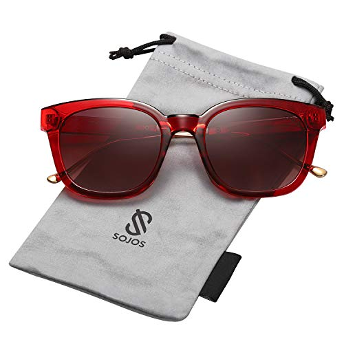 SOJOS Classic Square Polarized Sunglasses Unisex UV400 Mirrored Glasses SJ2050 with Red Frame/Burgundy Polarized lens (Lens Burgundy Frame)