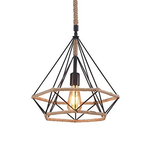 Wideskall 1-Bulb Industrial Diamond Geometric Pendant Lighting Fixture, 15-inch Metal Shade, Natural Hemp Rope Finish ()