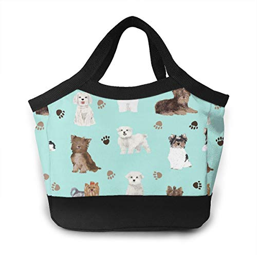 Lunch Bag - Chocolate Yorkie Maltese Biewer Terriers Cute Toy Lunch Pail Organizer for Work School Picnic Bbq, Kids Boys Girls Toddlers Lunch Organizer Totebox Portable Leakproof Snacks Organizer