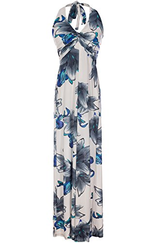 2LUV Women's Summer Holiday Resort Beach Maxi Floral Dress White & Navy L