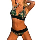 Luweki Push-up Padded Bra Swimsuit Bathing Sexy Women Floral Camouflage Bikini Set Swimwear (M, Green)