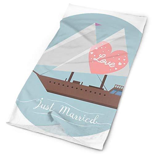 Headwear Headband Head Scarf Wrap Sweatband,Sailing Ship With Love Quote And A Pink Heart Honeymoon Sea Vacation Theme,Sport Headscarves For Men Women