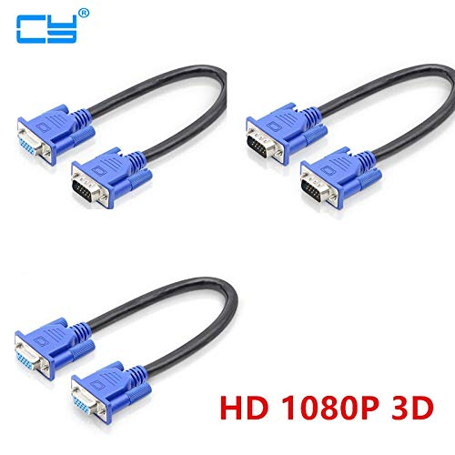 Connectors 30cm 50cm HD15Pin VGA D-Sub Short Video Cable Cord Male to Male M/M Male to Female and Female to Female for Monitor PC - (Cable Length: 30cm, Color: VGA F-F) ()