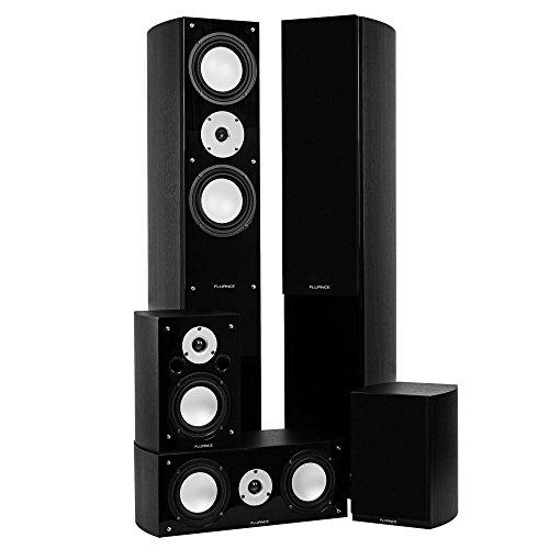Fluance XLHTBBK High Performance 5 Speaker Surround Sound Home Theater System - Black Ash by Fluance