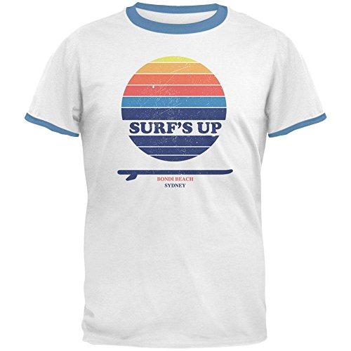 Sky Ringer T-shirt (Surf's Up Bondi Beach Sydney Australia Mens Ringer T Shirt White-Sky X-LG)