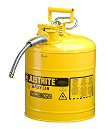 Justrite AccuFlow 7250220 Type II Galvanized Steel Safety Can with 5/8\