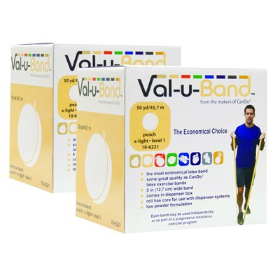 - CanDo Val-u-Band Twin-Pak Low Powder Exercise Band- 100 yard (2 - 50 yard boxes) - Peach (level 1/7)