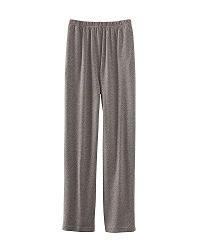 UltraSofts Elastic-Waist Interlock Pull-On Pants, Heather Gray, Petite Medium - Cotton Stretch Knit Pants