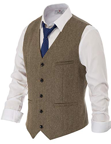 Mens Vintage Single Breasted Tweed Vest Wool Waistcoat Size L Light Coffee