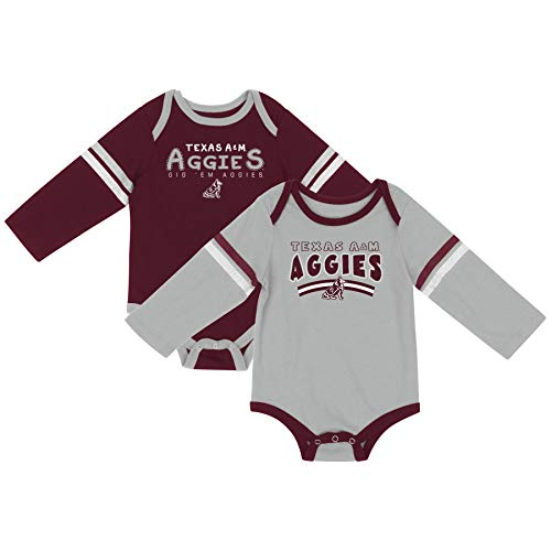 Colosseum NCAA Long Sleeve Bodysuit 2-Pack-Newborn and Infant Sizes-Texas A&M Aggies-0-3