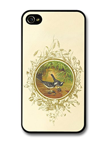 Classic Retro Vintage Illustration of Birds in Water with Floral Livery case for iPhone 4 4S