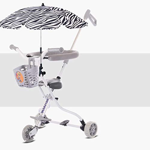 Baby Four-Wheeled Shatter-Resistant Lightweight Folding Children's Trolley Trend Adventure Travel System Range Aviation Aluminum Silver 6.3. (Color : Silver, Size : B) by Bbjinpin (Image #8)