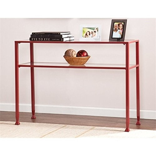 Pemberly Row Glass Top Metal Console Table in Red Review