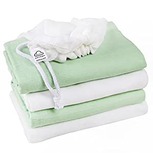 "Baby Blankets for Swaddling and Receiving 100% Cotton Soft Muslin Swaddle Made in Europe - 4 Pack - Large 47""x47"" Size - For Boy And Girl + Gift - Laundry Bag"
