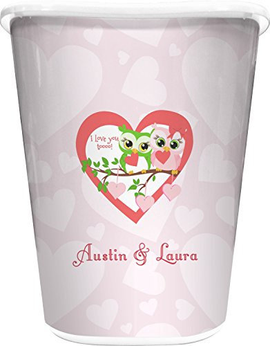 Valentine Owls Waste Basket (White) (Personalized) (Bathroom Can Owl Trash)