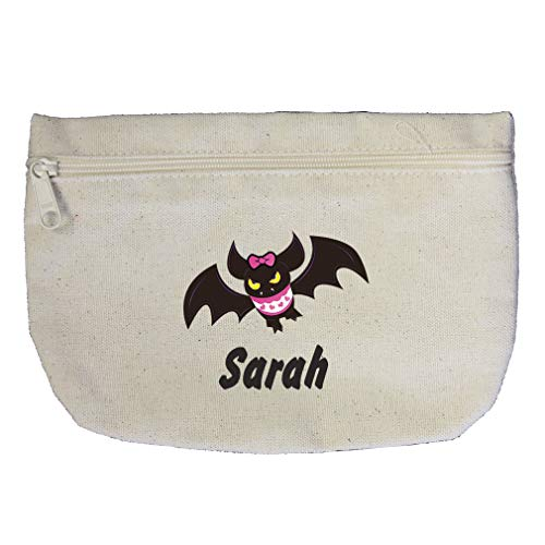 Custom Text Baby Bat Girl Halloween Cotton Canvas Makeup Bag Zippered -