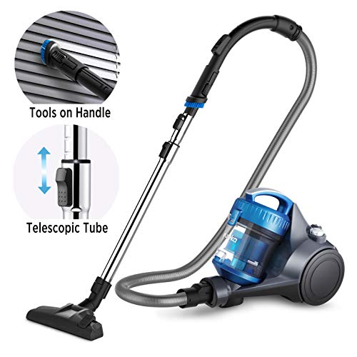 Eureka NEN110A Whirlwind Bagless Canister Vacuum Cleaner, Lightweight Corded Vacuum for Carpets and Hard Floors, Blue (Bagless Kenmore Vacuum Canister)