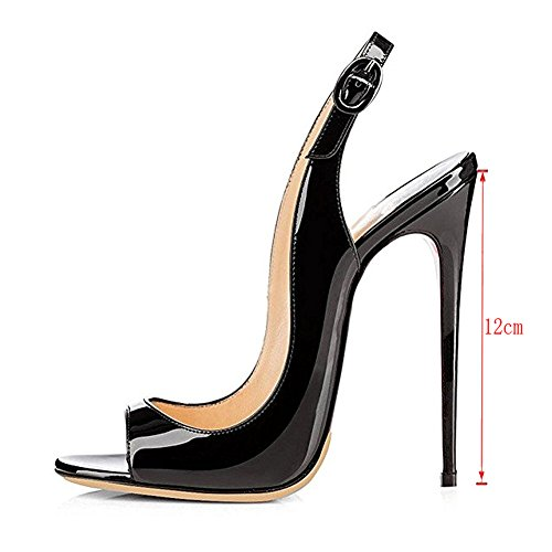 Women Heels Party Toe Stilettos Peep With MERUMOTE Shoes Black Buckle Pumps 197 Y High AYTFnW1B