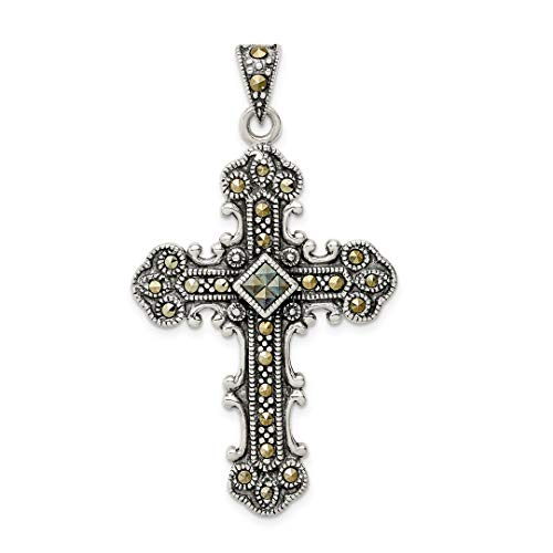 - 925 Sterling Silver Marcasite Cross Religious Pendant Charm Necklace Fine Jewelry For Women Gift Set