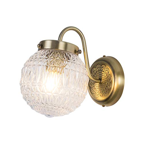 Antique Glass Globe Wall Lamp, Round Glass Shade Bronze Finish 1-Light E26 Base Wall Sconce Lighting Fixture for Bedroom Hallway, Foyer