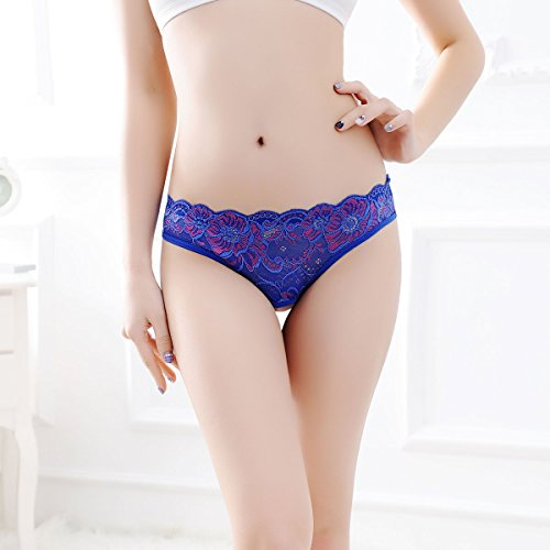 YALL-La Sra cintura baja la ropa interior ropa interior de encaje de la cadera tanga Lblue