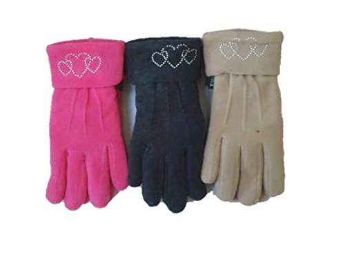 Set of Three Pairs Fleece Polyester with Microfiber Lined Very Warm Gloves -