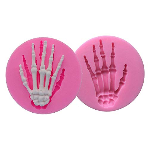 Forum Novelties 68999 2-Pack Skeleton Hand Fondant Halloween Cake Decorating Silicone Mould Fimo Clay DIY Mold Tools (Random Color), one, White