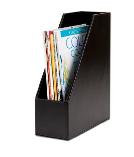 Dacasso Black Bonded Leather Magazine Rack by Dacasso - Collection Leather Bonded