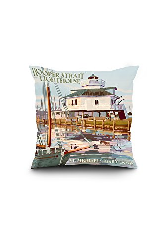 Maryland Lighthouse (St. Michaels, Maryland - Hooper Strait Lighthouse (Colorized) (16x16 Spun Polyester Pillow,)