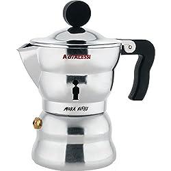 "Alessi AAM33/1""Moka"" Stove Top Espresso Coffee Maker in Aluminium Casting Handle And Knob in Thermoplastic Resin, Black"