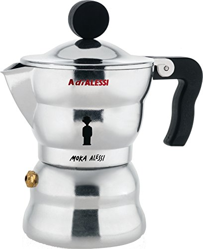 Alessi AAM33/1 Moka Stove Top Espresso Coffee Maker in Aluminium Casting Handle And Knob in Thermoplastic Resin, Black (Maker Stovetop Handles Espresso)